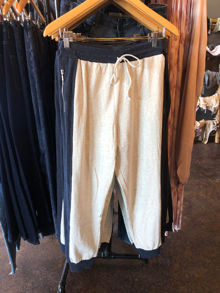 Navy & Cream Color Block Joggers