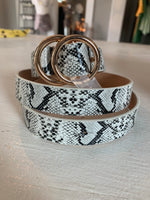 White Snakeskin Double Circle Belt