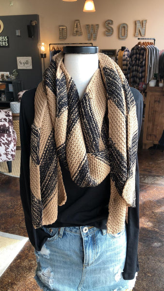 Camel and Black Chunky Knit Scarf