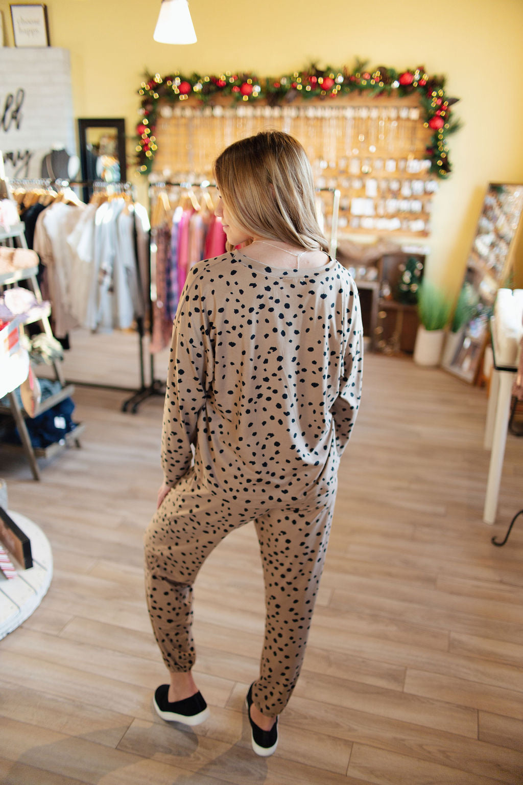Camel and Black Printed Lounge Set
