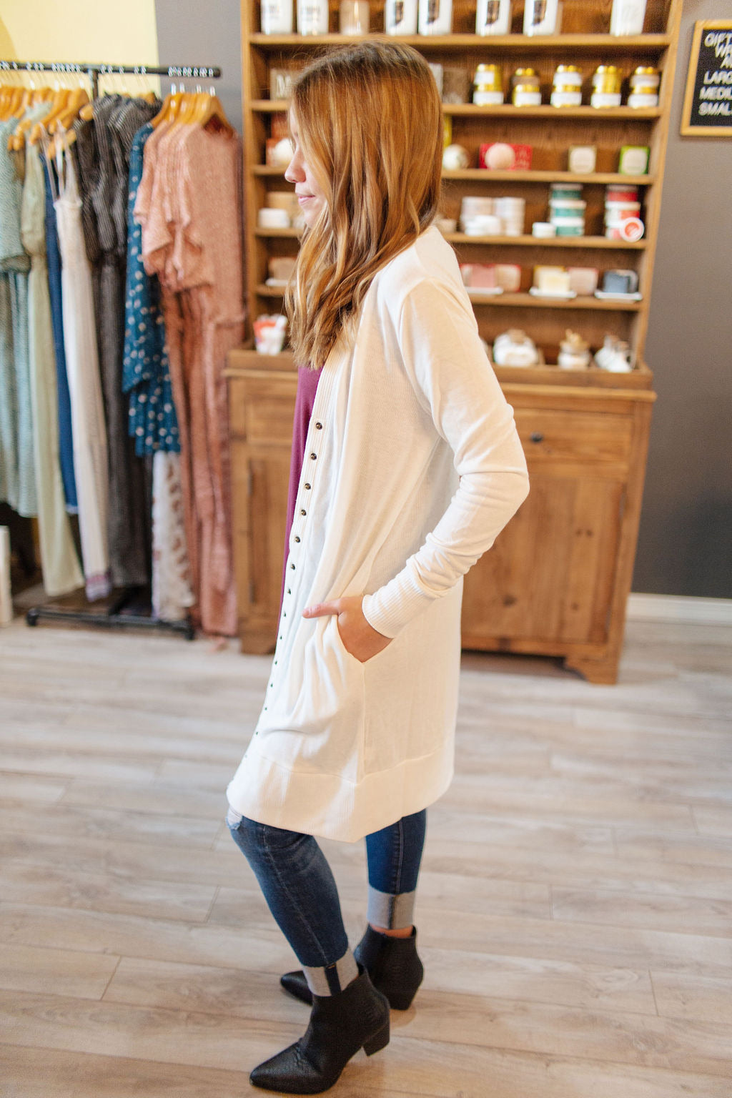Ivory Thigh-Length Snap Button Cardigan