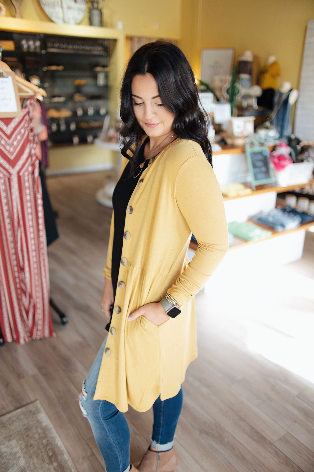 Light Mustard Shirred Waist Button Up Cardigan
