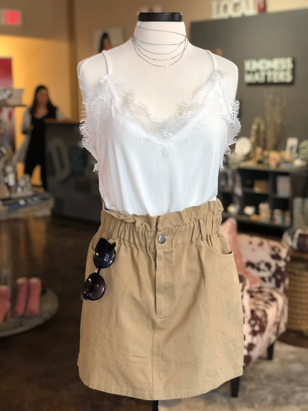 Tan Cinched Jean Skirt
