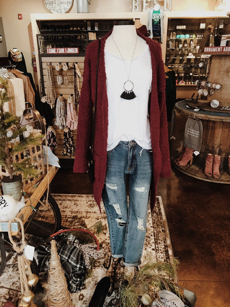 Burgundy Popcorn Textured Cardigan