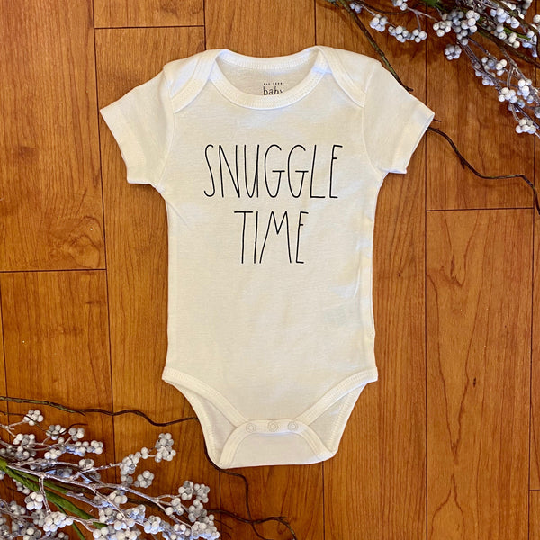 White Snuggle Time SS Onesie