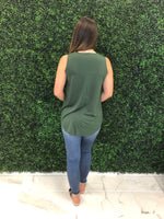 Army Green Sleeveless Round Hem Tank Top