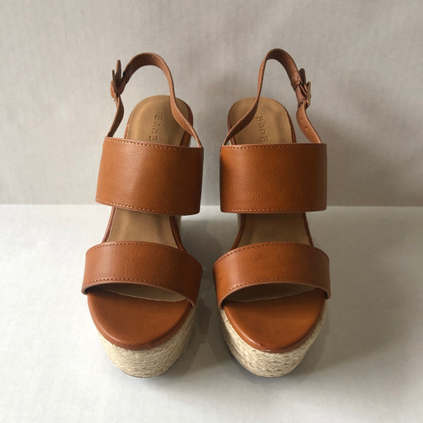 Tan Double Strap Platform Wedge