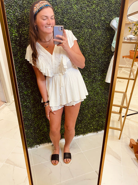 Off White Embroidered Ruffle Romper