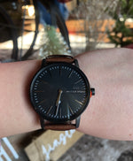McCoy Road Watch - Dark Brown Leather Band with Black Face