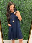 "Navy - Round Neck - Straight Hem - 36""  Sleeveless T-Shirt Dress"