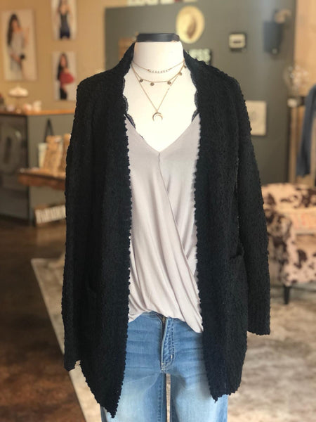 Black Popcorn Textured Cardigan