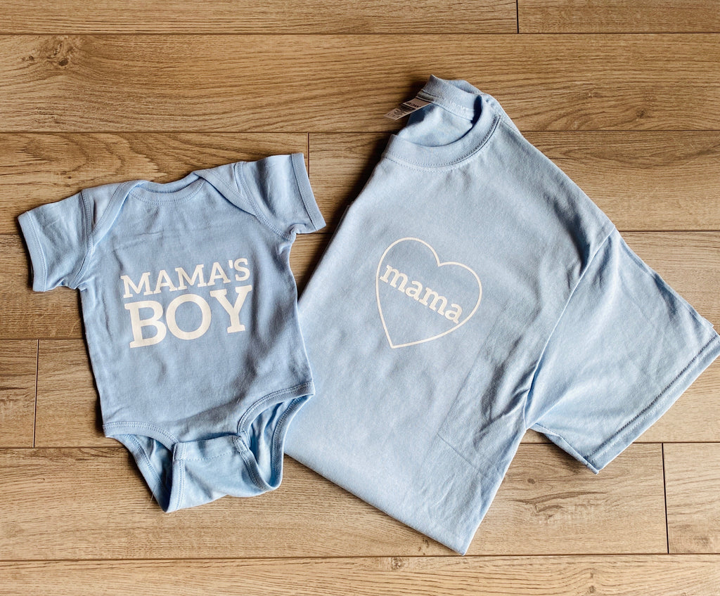 Light Blue Mama & Mama's Boy Set- JUST THE TEE