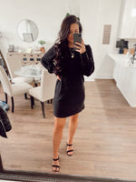 Black Heavy Knit Smocked Wrist LS Dress