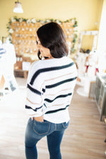 White/Gold/Black Striped Dolman Sweater