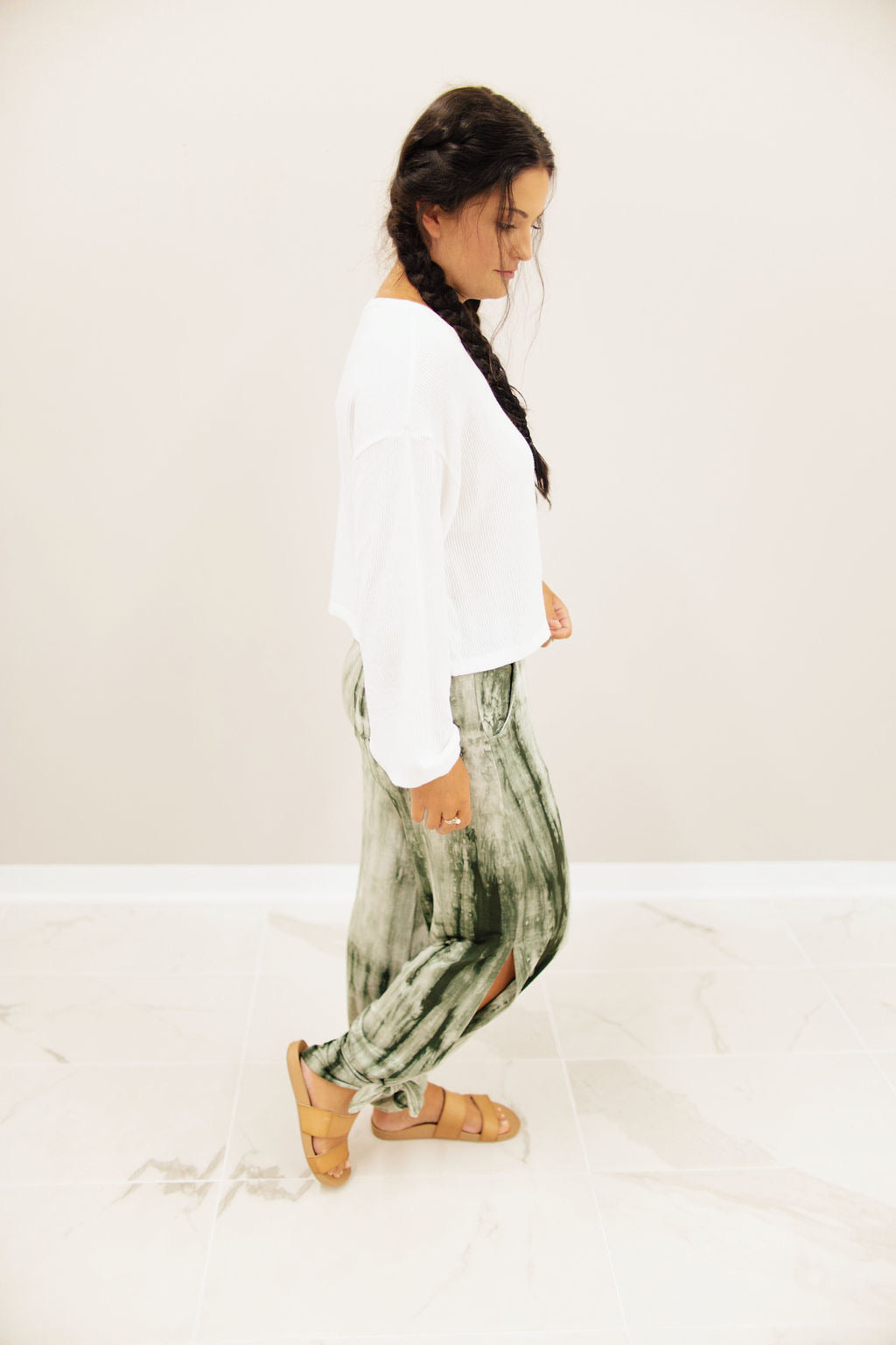 Olive Tie Dye Side Slit Pants