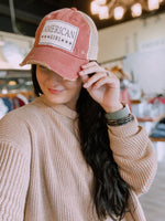 "Red Distressed Mesh Back Ball Cap - ""AMERICAN GIRL"""