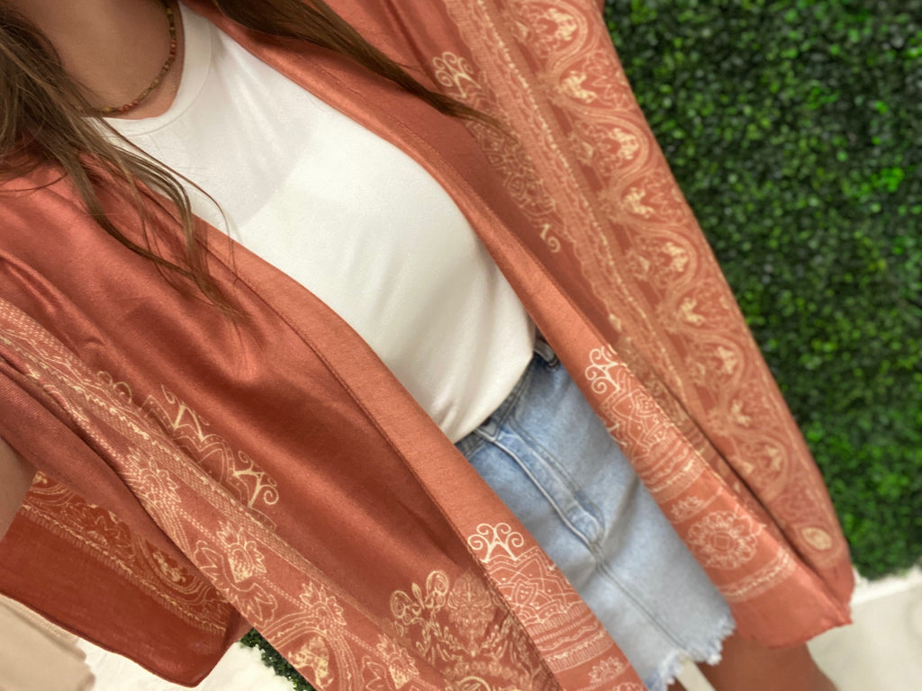 Burnt Orange Ornate Kimono