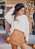 Oatmeal Sweater with Lace Up Back
