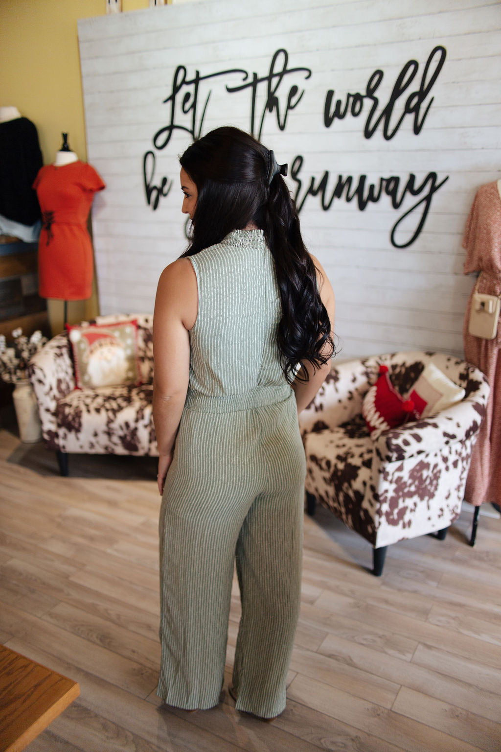Sage Sleeveless Printed Cinched Jumpsuit