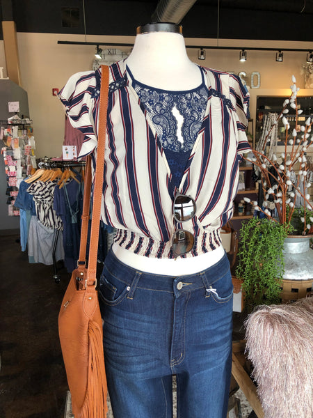 Navy and Burgundy Striped Smocked Crop Top
