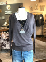 Charcoal Soft Loose Wrap Sweater