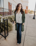 Army Green Open Cardigan with Pockets