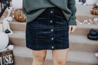 Black Corduroy Button Up Skirt
