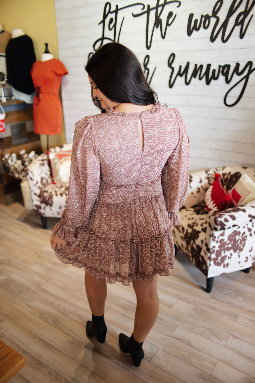 Rose Snakeskin LS Tiered Dress
