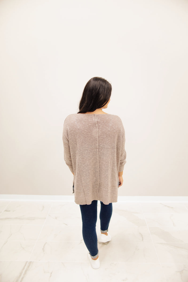 Mocha Oversized V-Neck Sweater Top