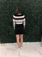 Mustard Striped Boat Neck Crop Sweater