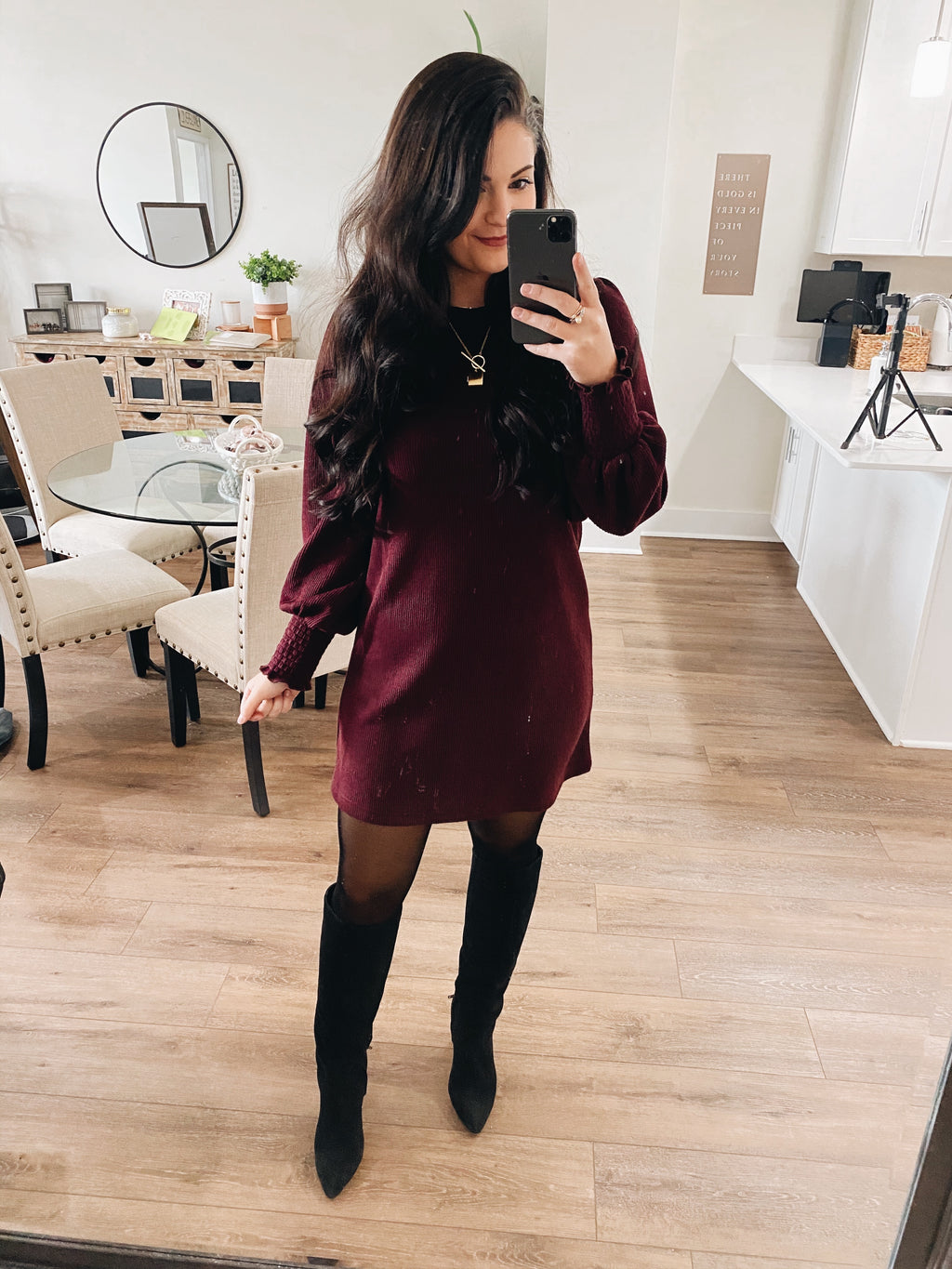 Wine Heavy Knit Smocked Wrist LS Dress