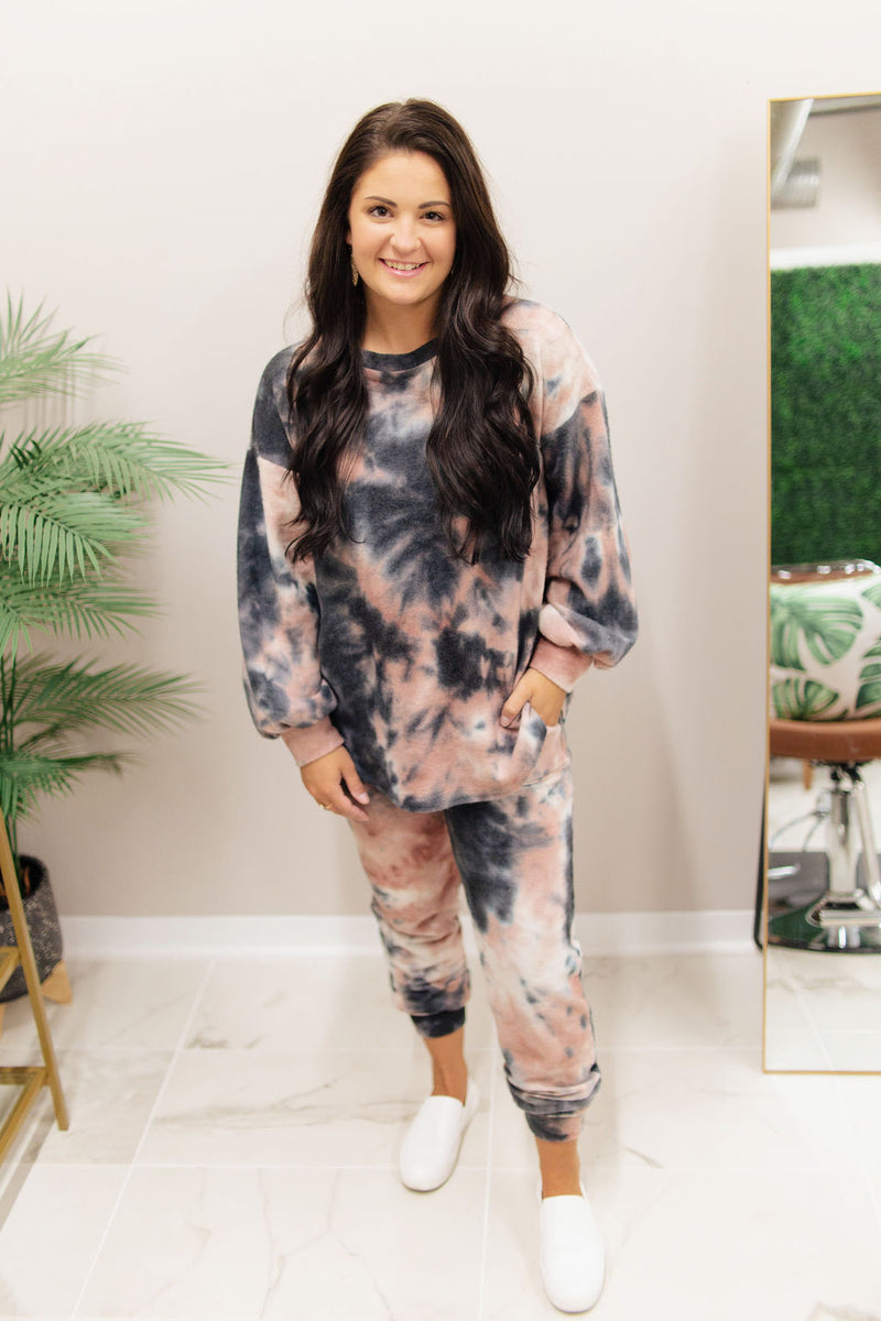 Mauve and Black Tie Dye Lounge Set