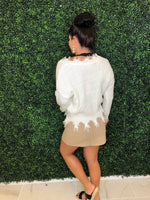 Off White Distressed Fringe Sweater