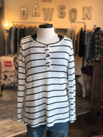 White & Black Thermal Striped LS Top