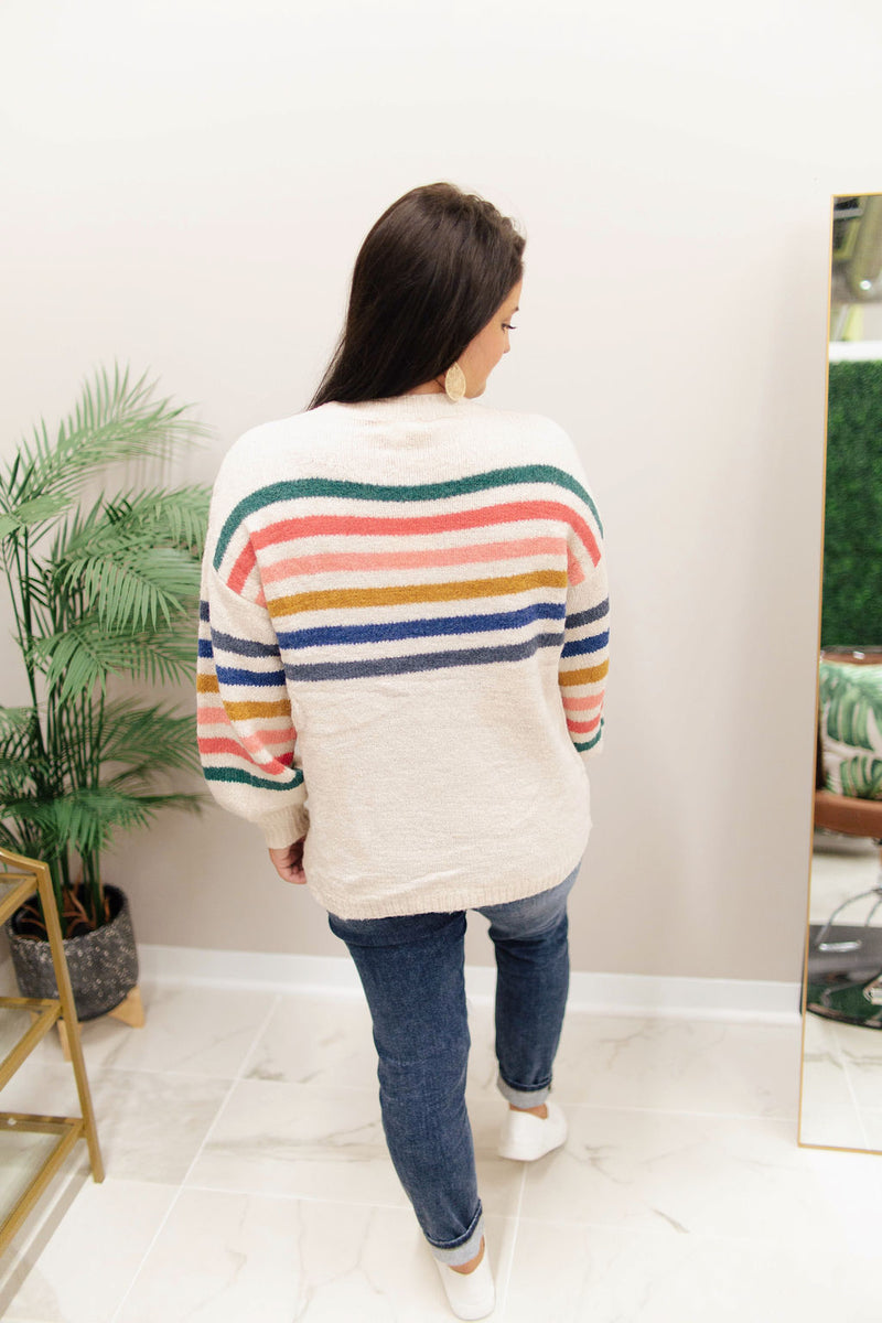 Cream/Multicolor Balloon Sleeve Sweater