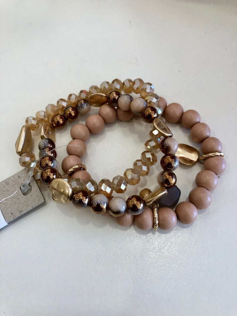 Beige/Peach Beaded Bracelet Stack