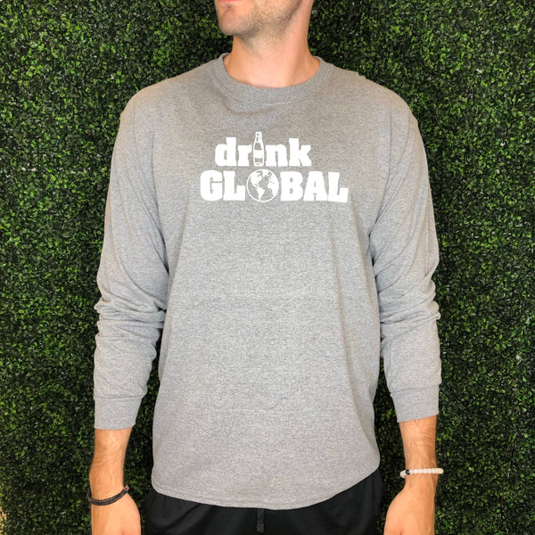 """Drink Global"" Grey- Give by Grace - LS Tee Shirt"