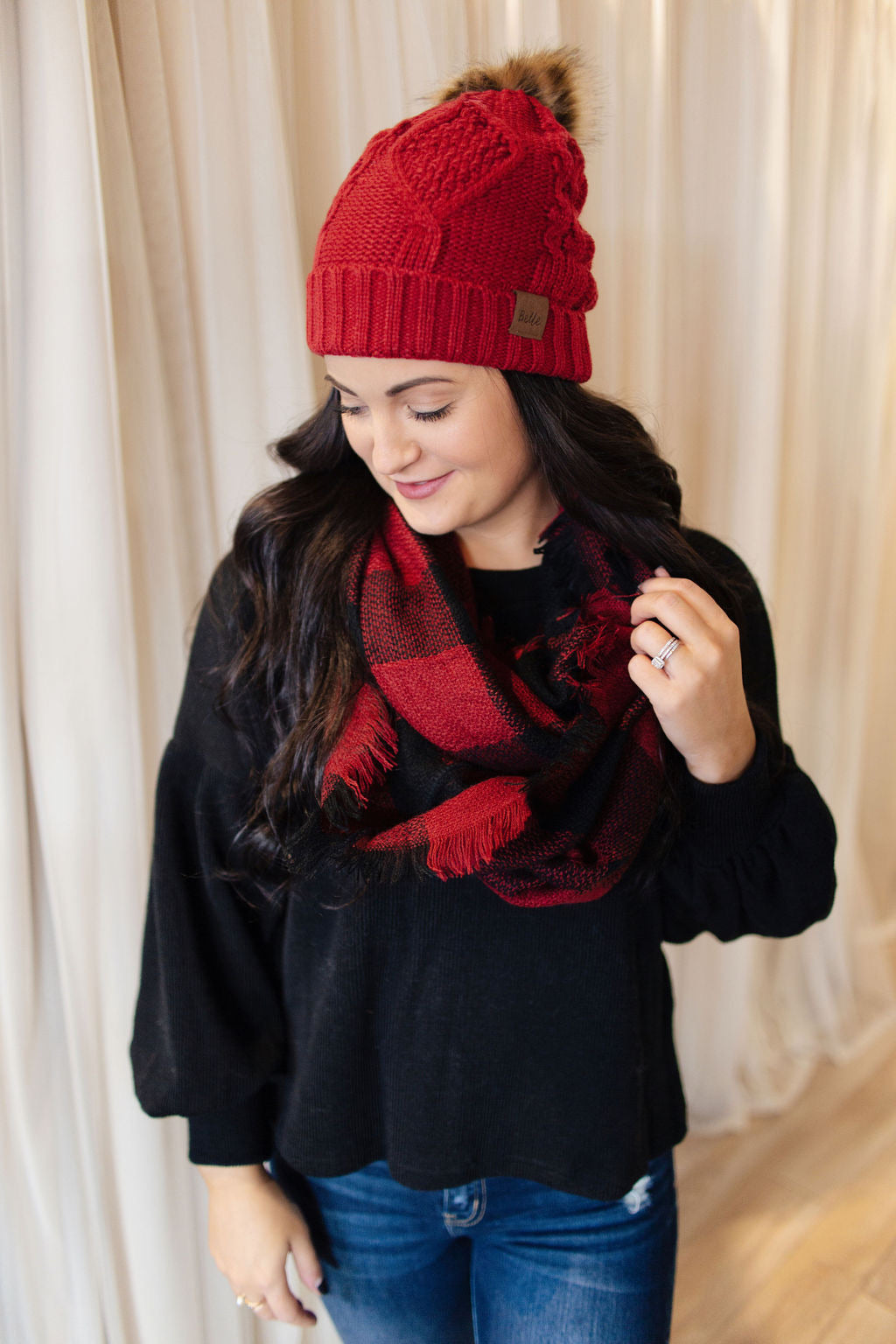 Red Buffalo Plaid Scarf & Beanie Set
