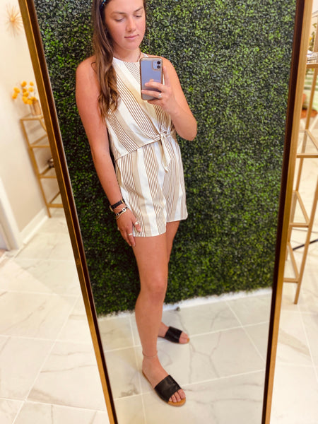 Taupe Striped High Neck Romper