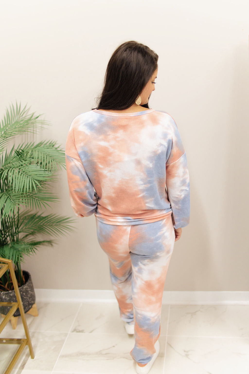 Coral and Blue Drawstring Hem Tie Dye Lounge Set