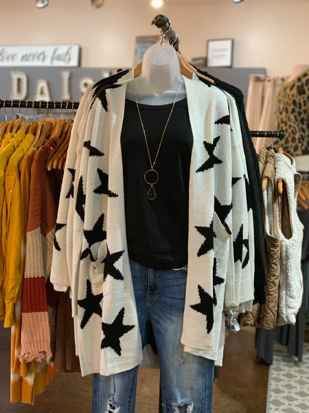 Ivory Star Printed Cardigan