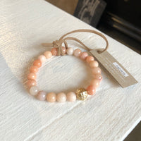 Give by Grace Shiny Beaded Bracelet- Peach