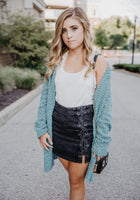 Black Lace Up Jean Skirt