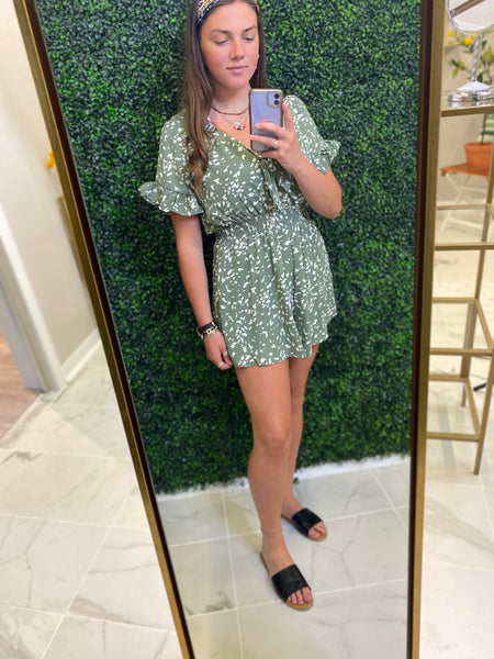 Olive and White Printed Romper