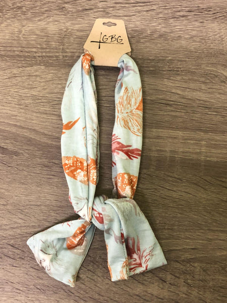 Light Blue Leaf Pattern Print- Give by Grace Headband