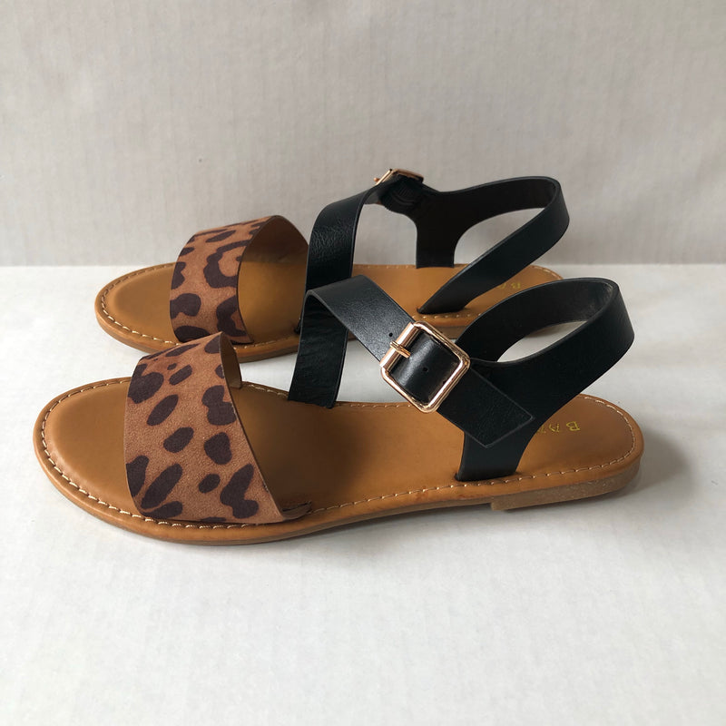 Cheetah Print and Black Strappy Sandals