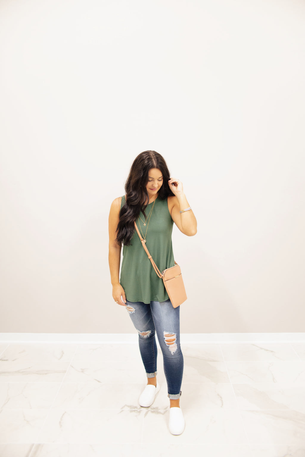 Army Green Sleeveless Tank Top