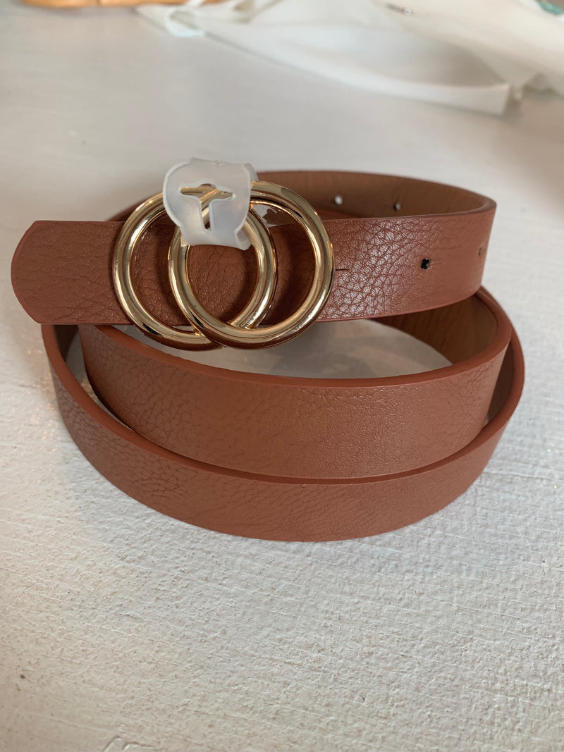 Tan Mini Double Circle Belt