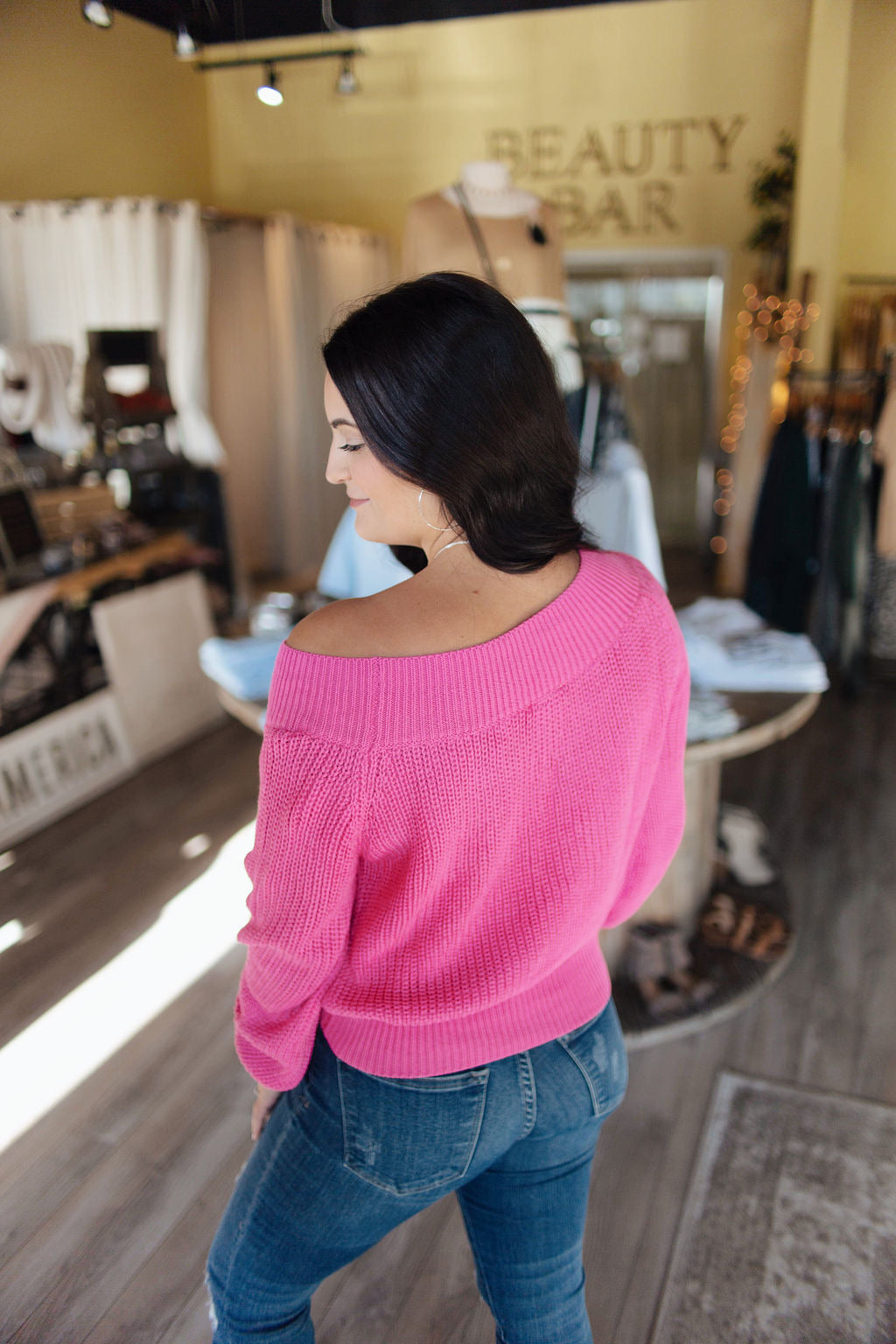 Hot Pink Off the Shoulder/Balloon Sleeve Sweater