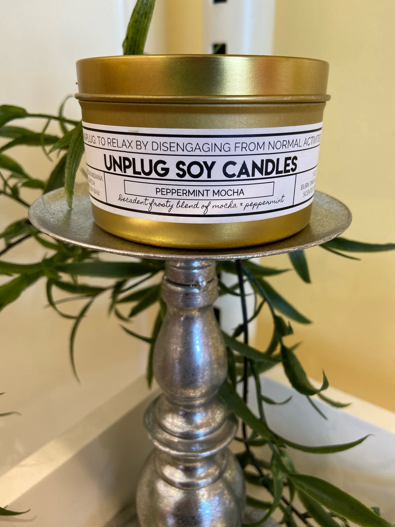 7 oz. Tin Candle - Unplug - Peppermint Mocha